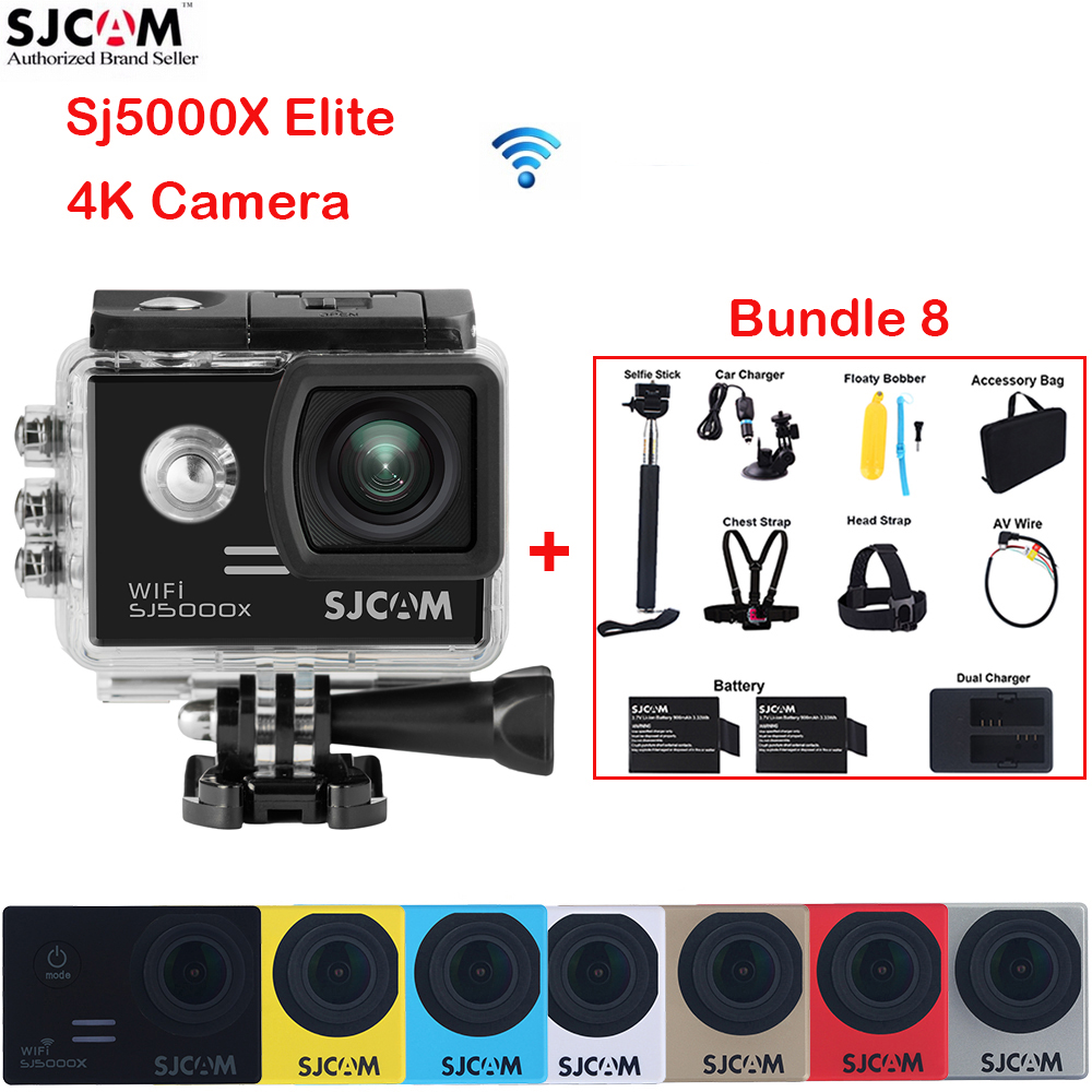 2.0 Screen 4K SJCAM SJ5000X Elite WiFi NTK96660 30M Waterproof Sports Action Camera Car Mini DVR+Accessories Kit (Bundle 8)