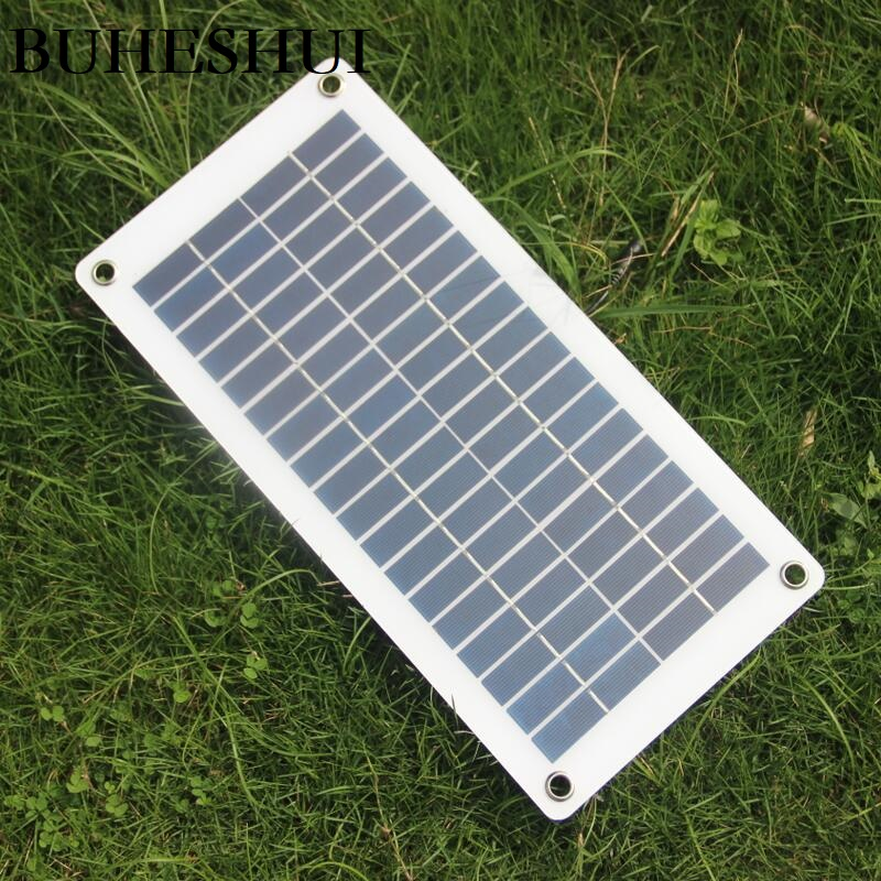 BUHESHUI 18V 10w Solar Cell Transparent Semi-flexible Polycrystalline DIY Solar panel Module Outdoor Connector DC 12V charger image
