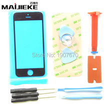 Black LCD Front Touch Screen Glass Outer Lens + Opening Tools+ Sticker for iPhone 5 5S 5C Outer Glass UV Glue Blade White