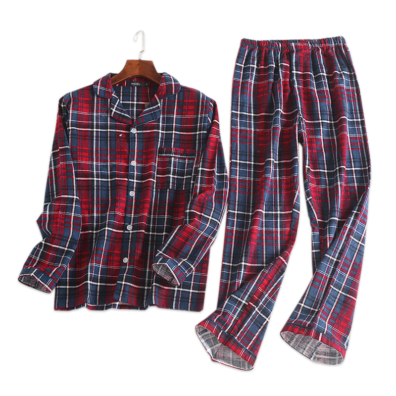 Fashion Plaid 100% Cotton Pajamas Sets Mens Casual Sexy Male Sleep Clothing Simple Sleepwear Pyjamas Pijama Hombre Homewear
