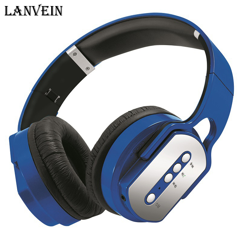 LANVEIN Wireless bluetooth earphone stereo bass headphone Headband headset with microphone Support TF card FM MP3 auriculares d 400 bluetooth v3 0 stereo headband headphone w microphone fm black blue