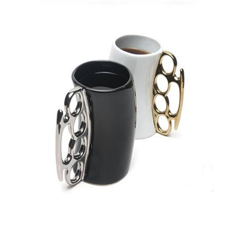 Creative Fist Cup Ceramic Black White Coffee Mugs With Brass Knuckles Handle Milk Tea Porcelain Cups