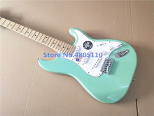 Chinese guitar Factory custom 2019New  green color maple fingerboard electric guitar free shipping