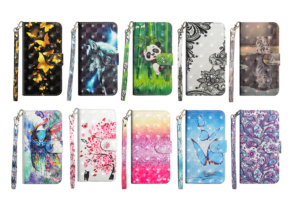 Patterned 3D Painted PU Leather Purse Wallet Flip Case Stand TPU Cover For Apple iPhone X 8 7 6S Plus Samsung S9+ S8+ BQ Aquaris