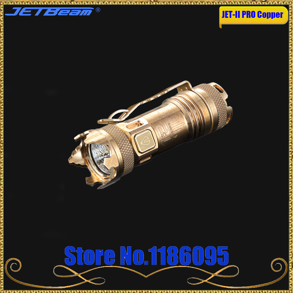 JETBeam JET-II PRO Copper EDC II PRO Titanium Meta Mini LED Flashlight 510 lumen Cree XP-L HI Light Portable mini Flashlight jetbeam jet i mk 480lm cree xp g2 led edc flashlight