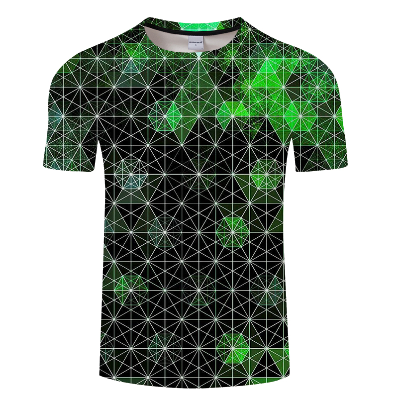 Summer youth 3d printing t shirt for men and women, irregular polygonal pentagram pattern printing T-shirt