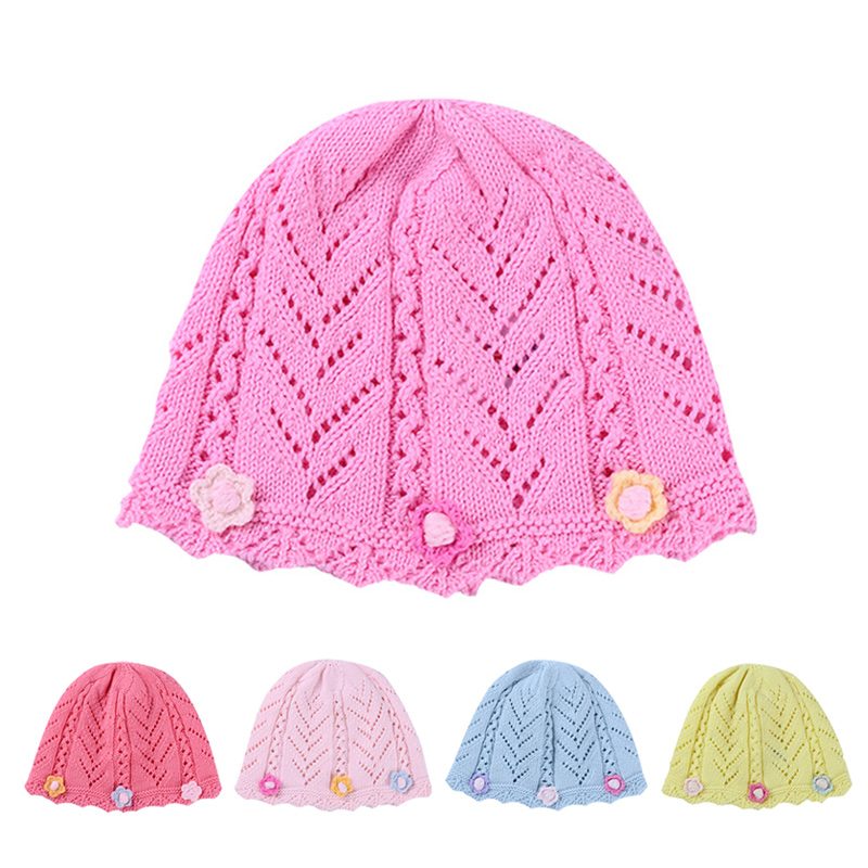 Knitted Baby Girl Hats Caps Cotton Baby Girl Beanie Flower Spring Autumn Crochet Newborn Hat Newborn Baby Girl Hospital Hats