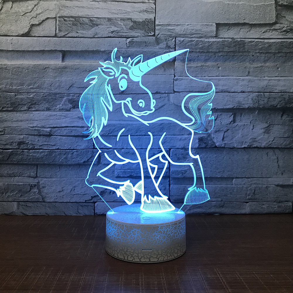 Unicorn Horse Night Light Lamp 3D LED Lamp 7 Colorful Table Lamp For Kids Christmas Gift White Base with Touch Switch / Remote цена