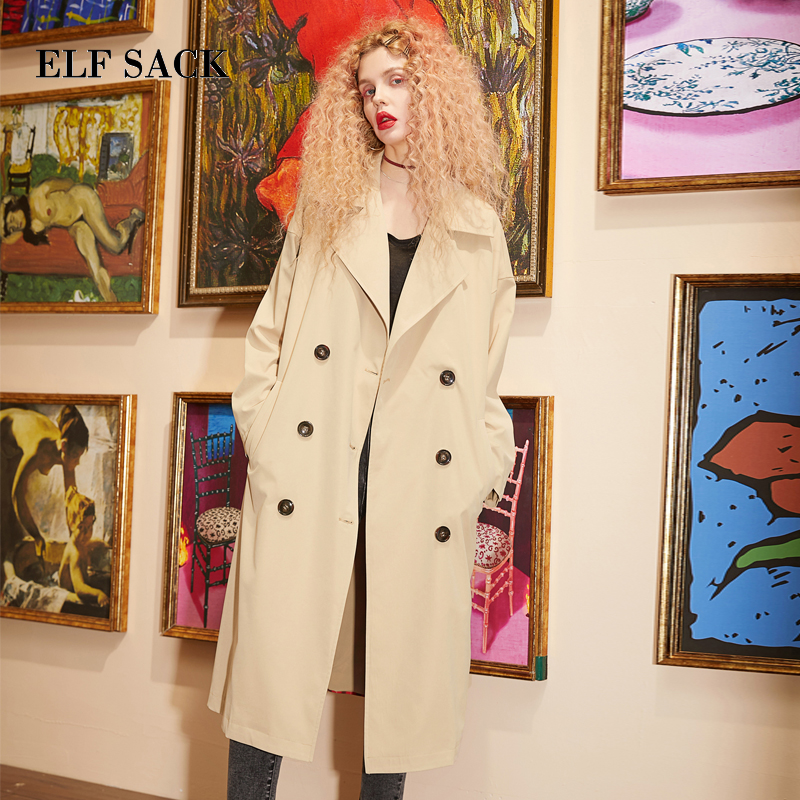 ELF SACK New Woman   Trench   Coats Casual Turn-down Collar Double Breasted Full Women   Trench   Coat Wide-waisted Print Femme   Trench