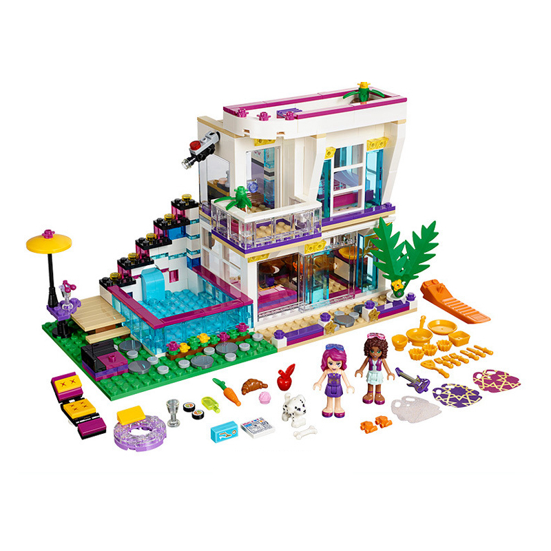 New heartlake Livi's Pop Star House fit legoings Friends figures city model Building Blocks bricks Toy 41135 gift kids diy toys