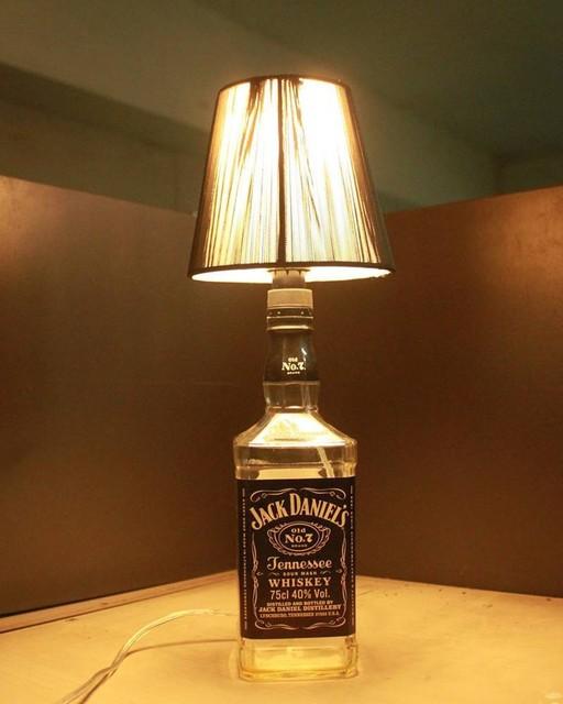 Superb LED Table Lamp Jack Daniels Liquor Bottle Table Lighting With Linen Shade  For Living Room Decoration