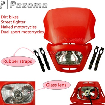 Motocross Enduro MX Headlight Red Headlight Fairing For Honda CRF XR CR CRM 125 250 450 FMX650 CRF230F Off Road Legal Headlamp image