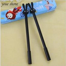 YOUE SHONE 2PCS Full needle refill rabbit gel pen cute jelly shape pens black core School Office Supplies 0.38mm