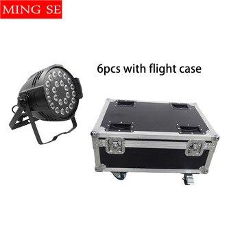 6 unidades 24x12W RGBW 4in1 aluminio LED Par luces escenario luces haz luz proyector con funda de vuelo