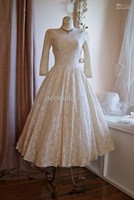 2015 Real Fashionable Vintage 50s Wedding Dresses Poland Style Scoop Neck Long Sleeves Lace Gowns Tea