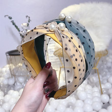 Korea  Floral Polka Dot Bow Pearl Hairbands Rabbit Ear Hair Accessories Hair Bows Flower Crown Headbands For Women Hairband korea pearl shining bow hairbands hair accessories crystal hair bows flower crown headbands for women 4