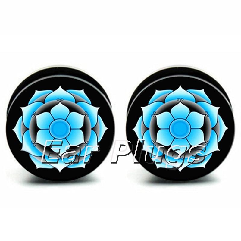 Wholesale 60pcs blue lotus acrylic inner thread screw fit ear plug gauge flesh tunnel mix 10 sizes 6mm-25mm A0143