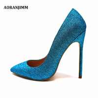 Free shipping real pic AORANJIMM blue glitter shiny hot sale discount brand shoes woman lady 12cm high heel shoes pump size 12