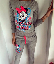 2016  Mickey Print O-neck Long Sleeve Hoodies Pant Two Pieces Set Hot Sale Breathable Solid Women Running Set