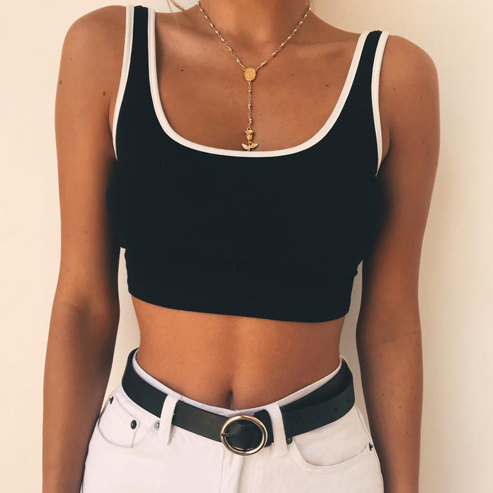 FEITONG New Summer Crop Top Sexy Fashion Womens Sleeveless Solid Tank Tops Vest Halter Blusa Shirt Casual Solid t-shirts 2018