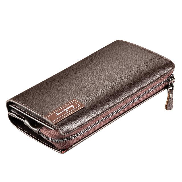 Luksusowe portfele z kieszonką na monety długi zamek błyskawiczny Coin portfel dla mężczyzn sprzęgło biznes męski portfel Podwójny zamek błyskawiczny Vintage duży portfel