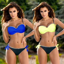 Minimalism Le Push Up Bikinis Sexy Solid Patchwork Bikini Set Women Bandage Swimsuit Swimwear Plus Size Bathing Suit Beach Wear