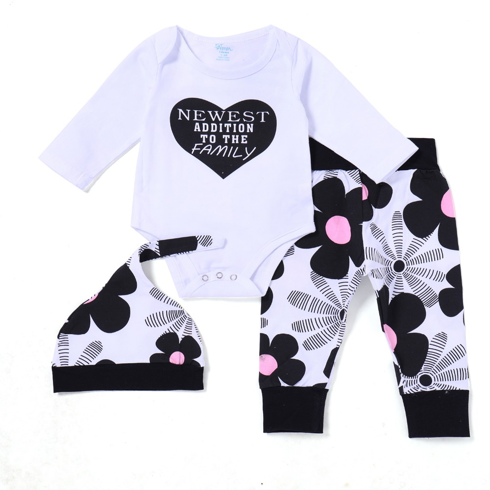 3 Pieces Baby Girl Clothes Set Love Pattern Bobysuit+floral Pants+hat Newest Addition To The Family Printed Toddle Girls Outfit