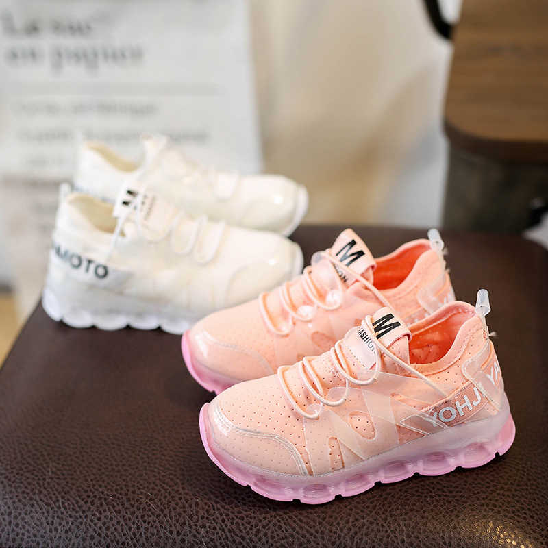 Kinderen licht schoenen jongens meisjes casual mesh schoenen Lycra stretch doek ademende LED knipperende lichten kids sneakers
