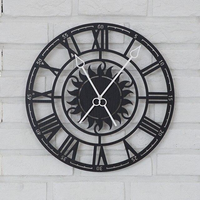 PINJEAS Roman Numerals Retro Wall Clock Living Room Modern Clock Art Quartz  Clocks Home Decor Wall
