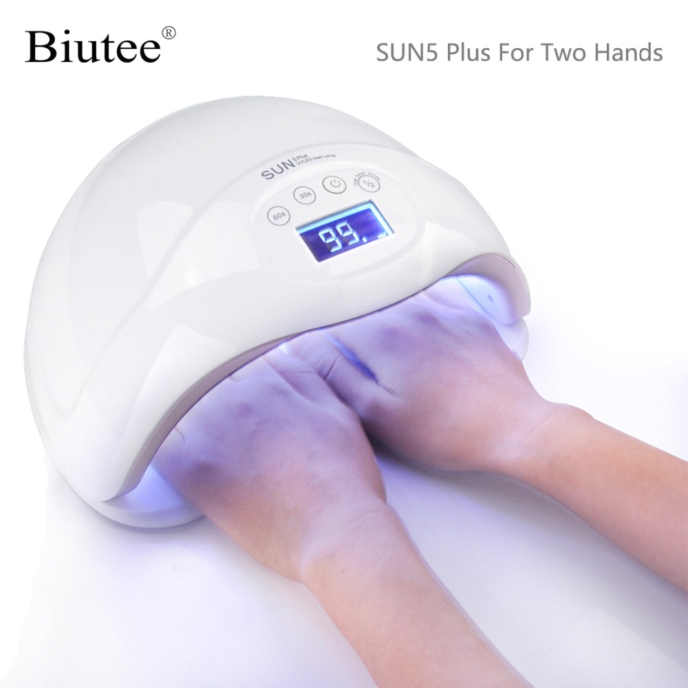 Biutee SUN5 Plus 48W UV LED Lamp Nail Dryer Dual Hands Nail Lamp Curing For UV Gel Nail Polish With LCD Timer Display Sensor