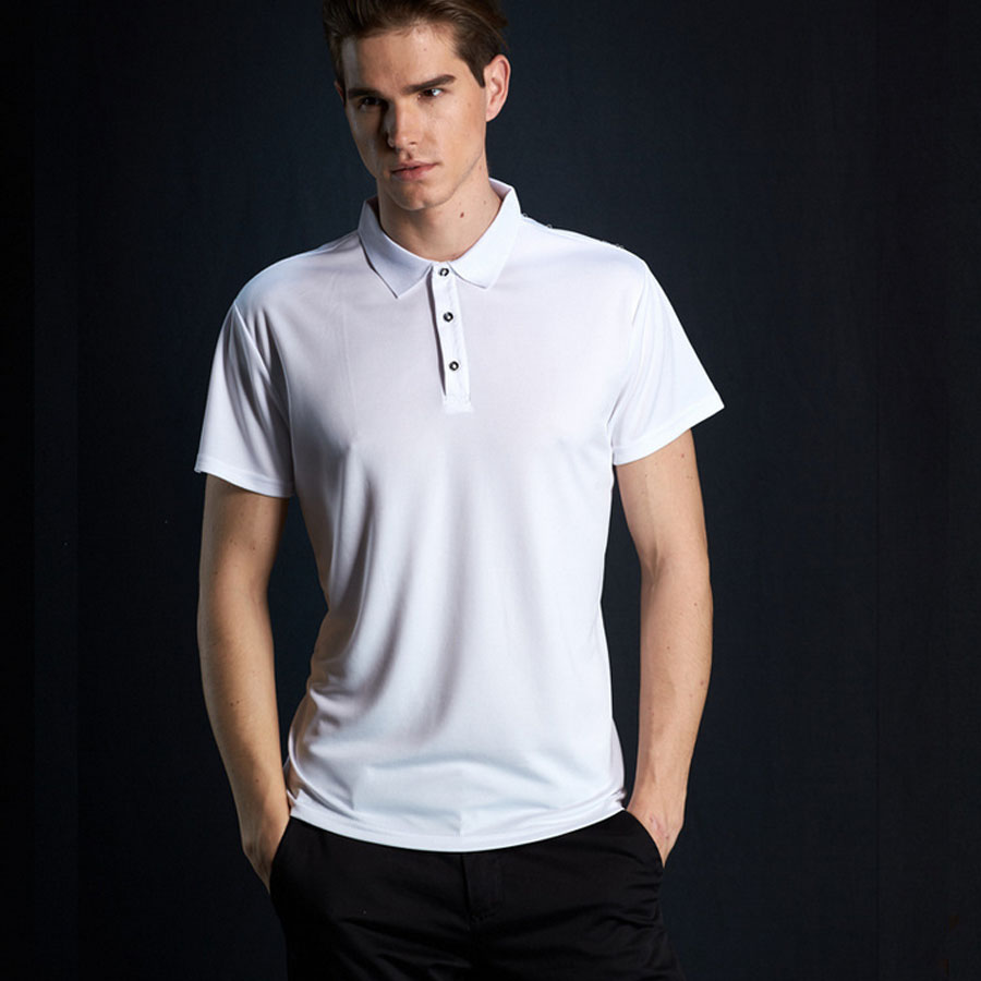 Polyester Mens Polo Shirts Short Sleeve Slim Fit Polo Men Casual