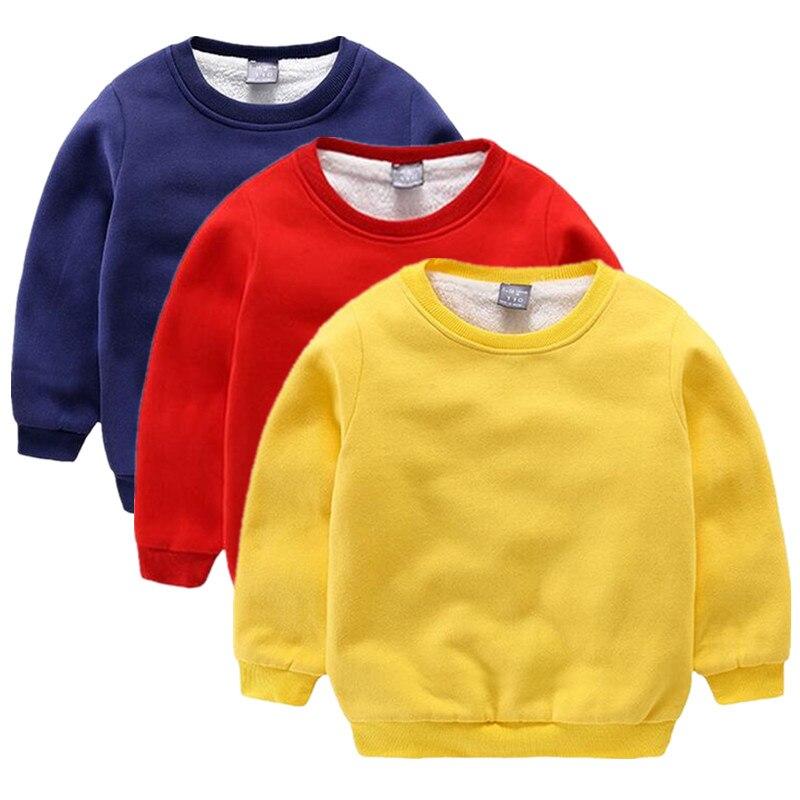 New 2018 Childrens Hoodie Winter Fleece Girls Boys Hoodies O-Neck Sweaters Girls Sweatshirts Style Outerwear Pullovers Coat