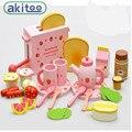 Nueva llegada de la fresa tostadora bebés niños pequeños de madera play house honestamente ver toys toys utensilios de cocina de cocina de madera