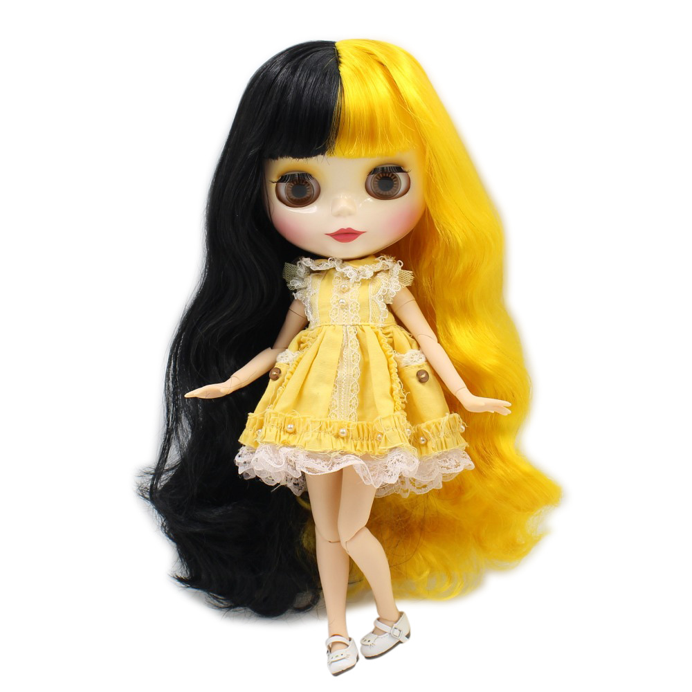 Oyuncaklar ve Hobi Ürünleri'ten Bebekler'de Ücretsiz kargo fabrika blyth doll 280BL3038/117 Siyah karışımı Sarı saç patlama/saçaklar Ortak vücut bjd oyuncak hediye'da  Grup 1