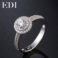 EDI классический 0.3ct Круглый природных алмазов 18 К Белое Золото Свадебные Обручальные кольца для Для женщин Ювелирные украшения