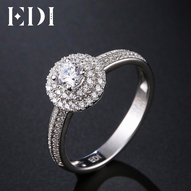 EDI Classic 0.3ct Round Natural Diamond 18K White Gold Wedding Engagement Rings For Women Fine Jewelry classic 18k solid white gold party anniversary engagement wedding band rhombus rings for women men couple gift fine jewelry