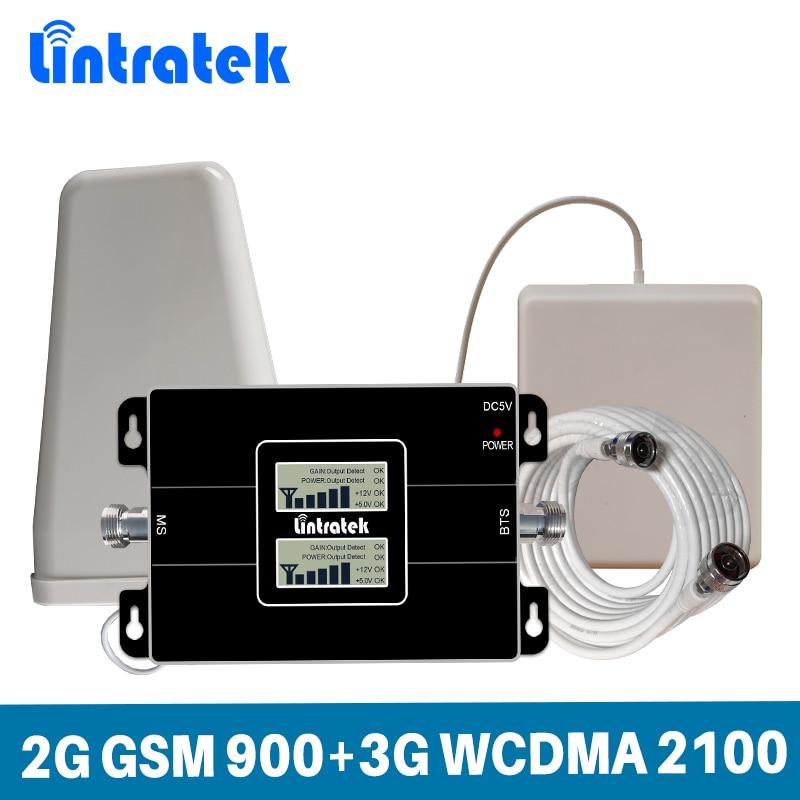 Lintratek 65dB Gain Signal Double Bande 2g GSM 900 mhz 3g UMTS WCDMA 2100 mhz Téléphone Portable Mobile répéteur de Signal Ensemble Complet