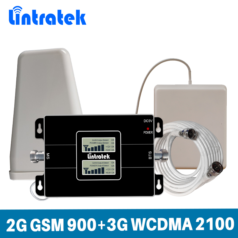Lintratek Guadagno 65dB Dual Band Ripetitore Del Segnale 2G GSM 900 MHz 3G UMTS WCDMA 2100 Mhz Cellulare Ripetitore di Segnale Cellulare Pieno Set