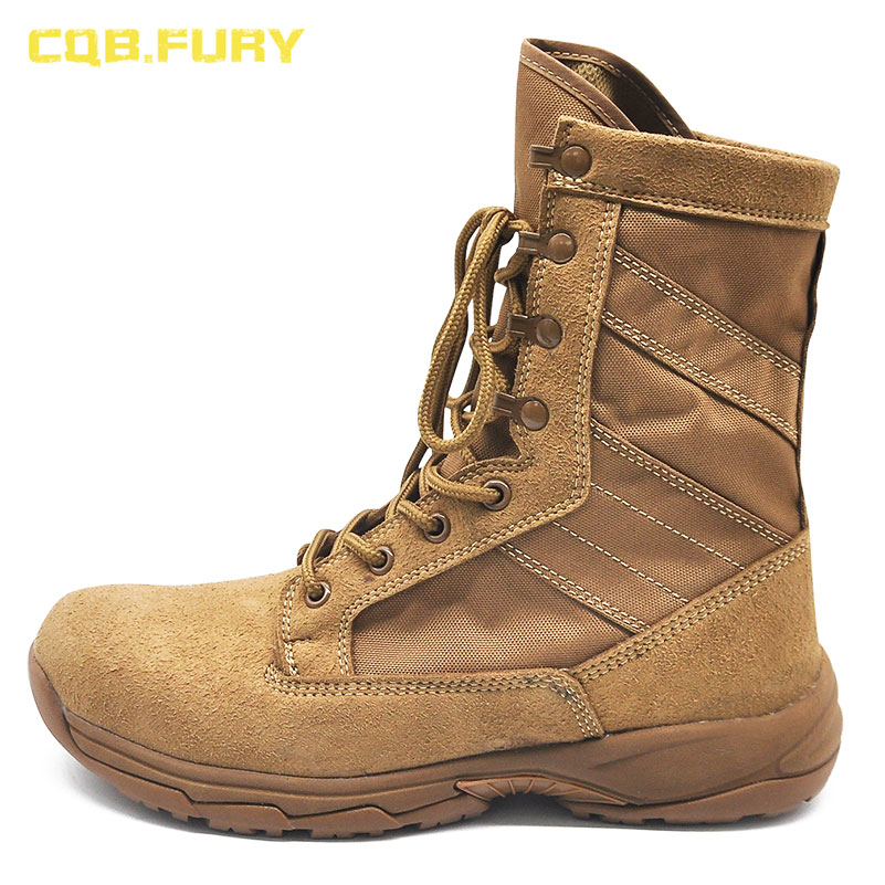 CQB FURY 8 inches Winter brown Mens Army boots tactical Cow suede comfortable outdoor boots with