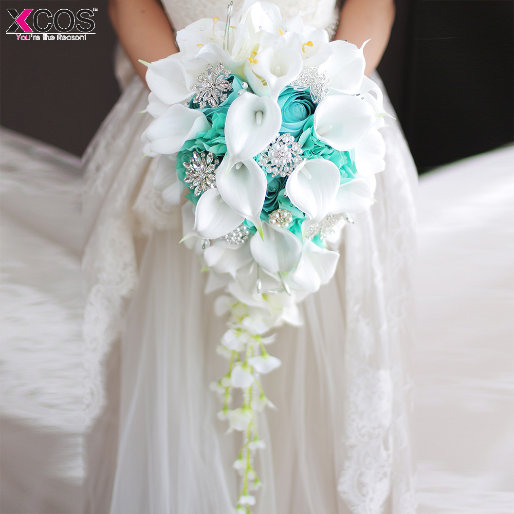 2018 Waterfall Green White Wedding Flowers Bridal Bouquets