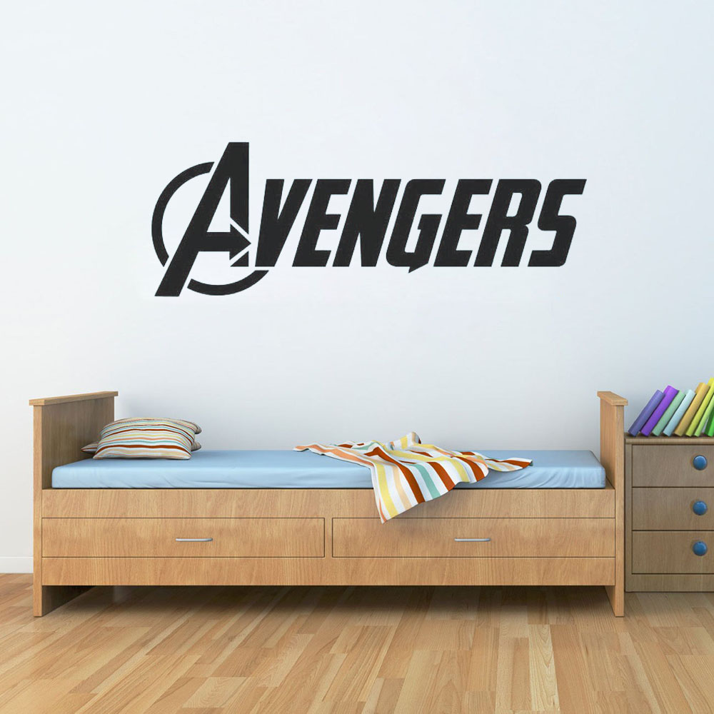 US $1.78 30% OFF|The Avengers Logo Vinyl Wall Word Decal Marvel Comics Wall  Stickers Home Decoration Living Room Kids Room Mural Bedroom G553-in Wall  ...