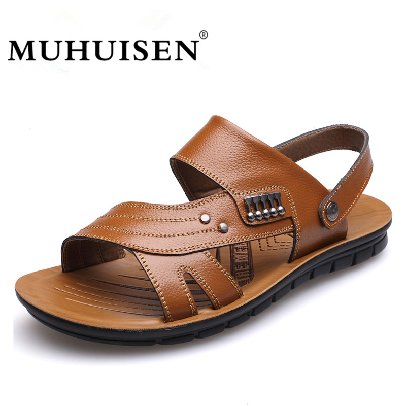 MUHUISEN Men's 100% Genuine Leather Sandals New Famous Brand Casual Men Slippers Summer Shoes Beach Flip Flop
