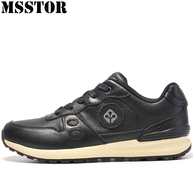 MSSTOR On Sale Clearance Men Running Shoes Genuine Leather Sport Shoes Man Brand Athletic Sports Run Walking Sneakers For Male li ning brand new arrival lifestyle series men s running sports shoes man sport sneakers for male altk025 xmr1154