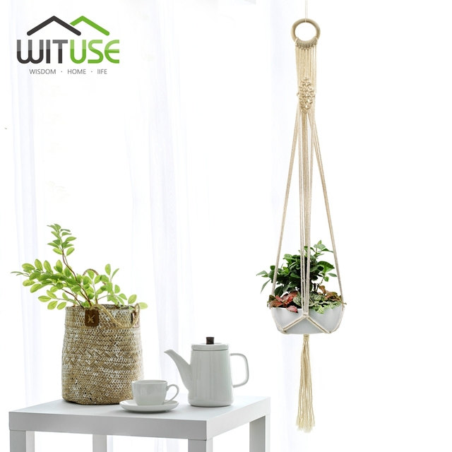 New Home Decor 1m Macrame Plant Hanger Indoor Outdoor Wall Hanging Planter Basket Cotton Rope