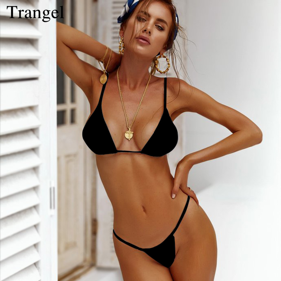 68c45182c4a86 Trangel Bikinis 2019 Mujer Sexy Swimwear Swimsuit Female Women Micro Bikini  Set Solid Thong Bikini Bathing Suit Woman Swimsuits-in Bikinis Set from  Sports ...