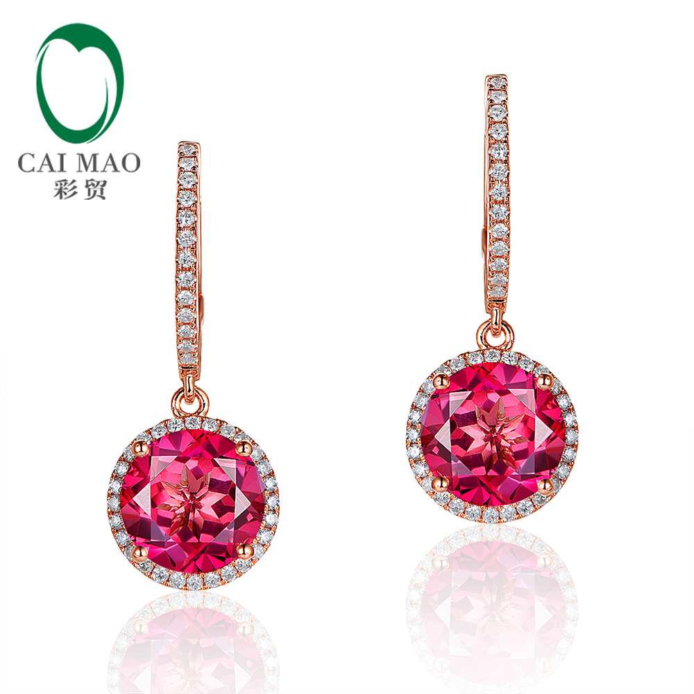 Caimao Jewelry 14KT Rose Gold 4.75ct Round Cut Pink Topaz and 0.33ct Natural Diamond Engagement Earrings caimao exquisite jewelry natural cabochon cut emerald baguette cut diamond 14kt white gold drop earrings