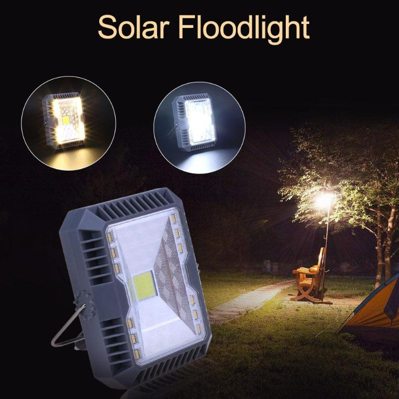 Waterproof Solar Floodlight Spotlight 3 Modes USB Rechargeable COB Working Lamp Outdoor Camping Emergency Handheld Lamp