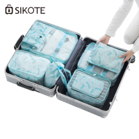 SIKOTE 8pcs/set Convenience Travel Storage Bags Packing Print Organizers Toiletry Organizer Travel Accessories