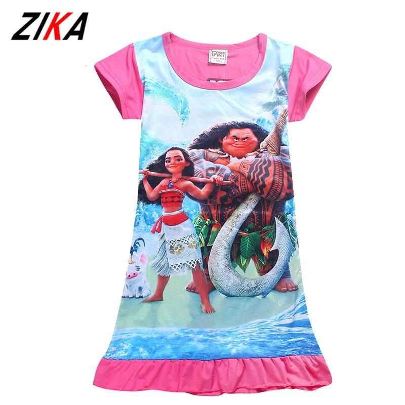 e465b2036d0a5 ... filles de nuit manches courtes robe de couchage pyjamas bande dessine  moana princesse costume enfant vtements de nuit chemises de nuit with pyjama  fille ...