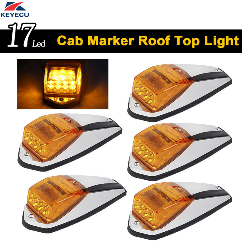 все цены на KEYECU 5 x Amber Roof Light Chrome Cab Marker Clearance Roof Running Top Light Assembly for Heavy Duty Trucks Peterbilt 17LED